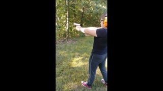 Hannah firing her first weapon (Glock 43)…